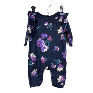 Old Navy One Piece Jumpsuit Floral Gray Purple 0-3